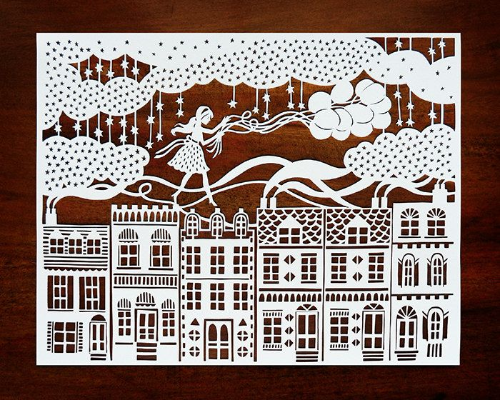 Original Papercut - Girl on the Rooftops with Balloons - Handcut Paper Illustration. $85.00, via Etsy.