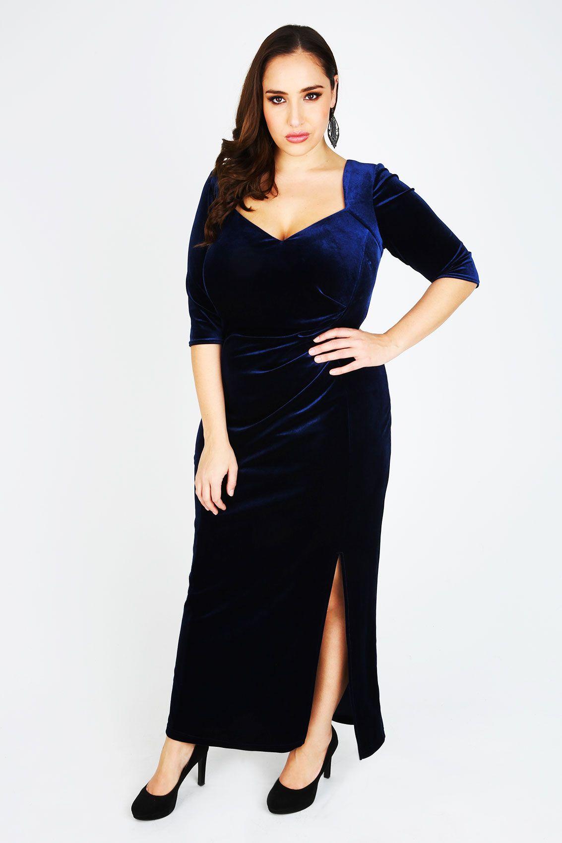 SCARLETT & JO Midnight Blue Velvet Maxi Dress | Jada Sezer (Yours ...