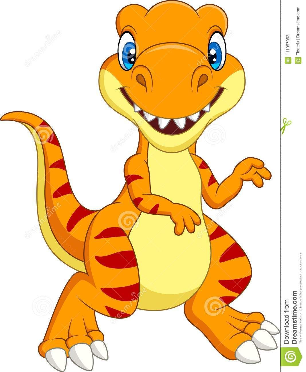 Cartoon Tyrannosaurus Isolated On White Background Stock Vector - Illustration of predator, isolated: 111997953