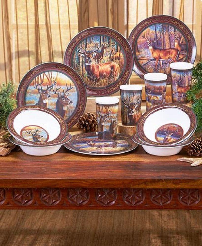 Rustic 12 Pc Melamine Dinnerware Set Deer Wildlife Animal Outdoor
