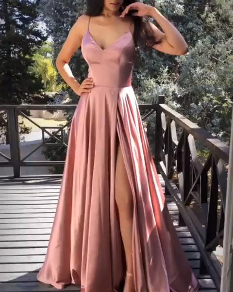 Rosa Satin Abendkleid Abendkleid Satin In 2020 Ballkleid Lang Abendkleid Altrosa Ballkleid
