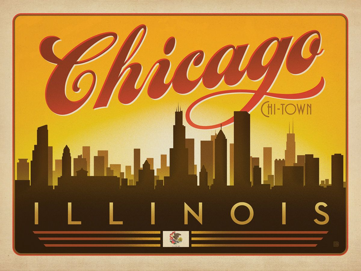 Chicago. Illinois USA | Poster, Paintings and Vintage | Pinterest