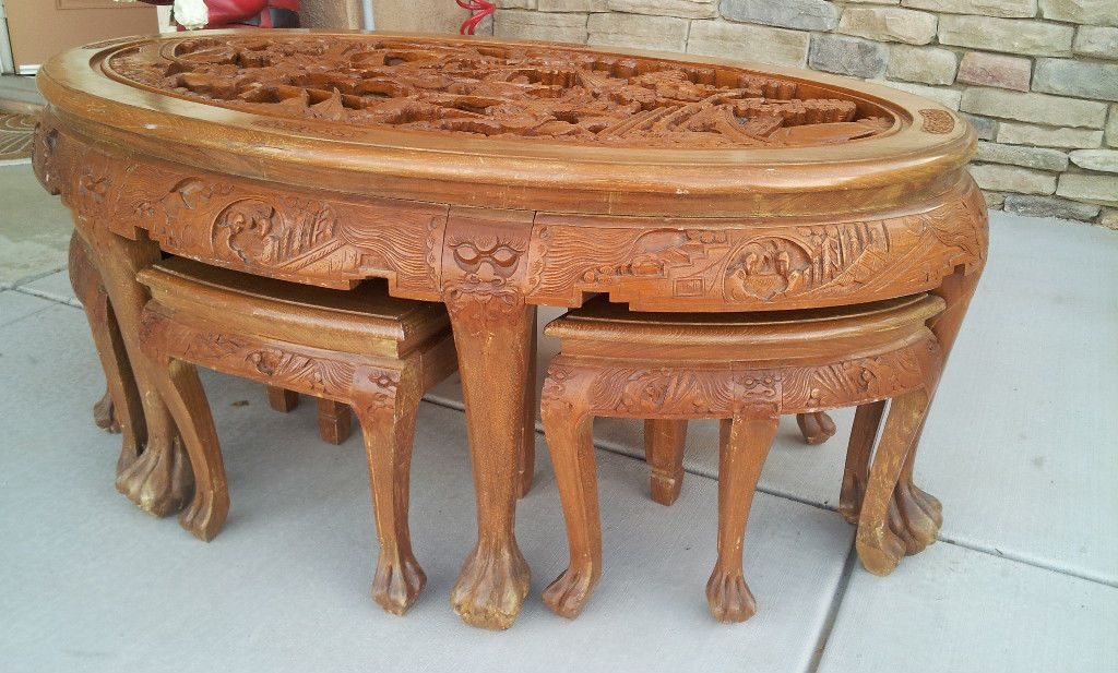 Chinese Antique Carved Teak Wood Tea Table With Stools 31