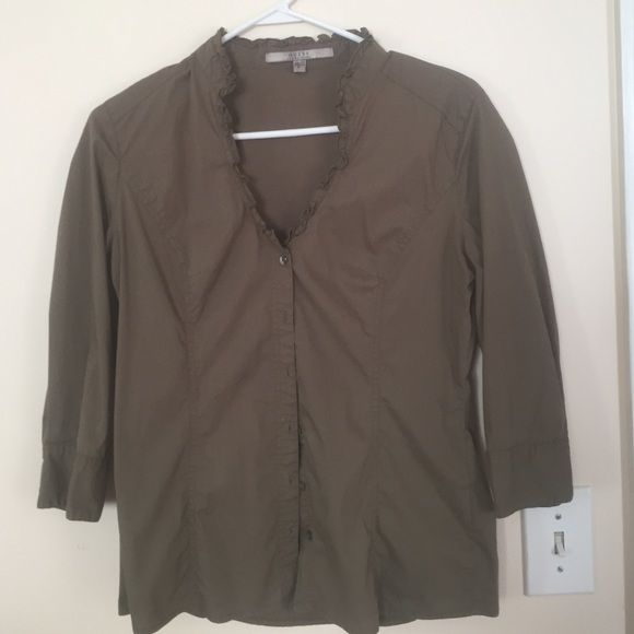 Khaki colored guess blouse This blouse is very flattering and formfitting. However, too big for me now! It would fit someone who is a size 8 with the size 36 C-D bust. Guess Tops Blouses