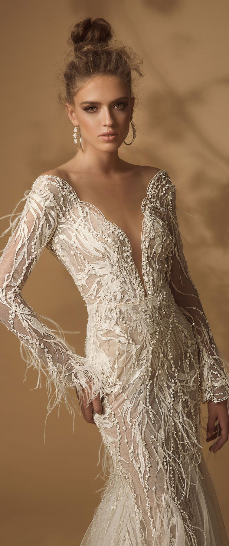 Long sleeve heavy embellishment fit and flare wedding dress #wedding #weddingdress #weddinggown