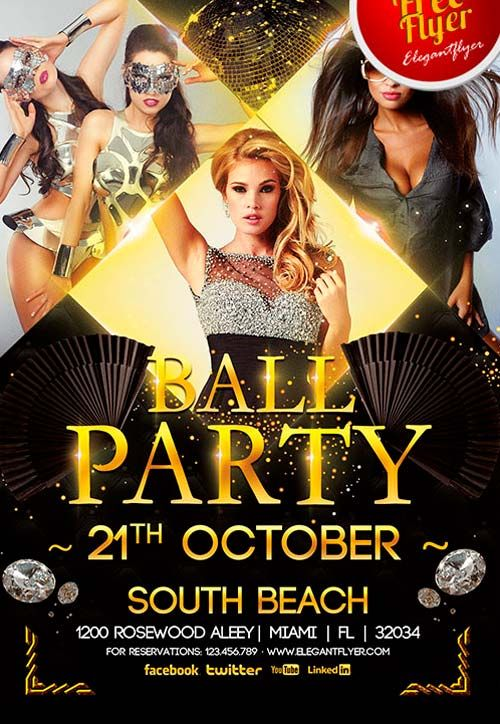 Free Ball Party Flyer PSD Template Flyers Design ex Pinterest - birthday flyer template