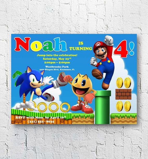 Super Mario Pacman Sonic the Hedgehog Birthday Invitations | Video Gamer Party | Pinterest ...