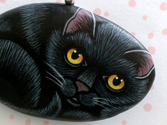 Mothers day gift ideas for pet lovers black cat painted rock mothers day gift ideas for pet lovers black cat painted rock pendant necklace handmade by fandeluxe Image collections