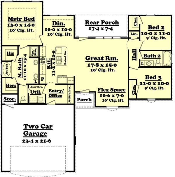 House Plan 142 1047 3 Bedroom 1500 Sq Ft Ranch Southern Home Tpc Ranch House Plans Basement House Plans House Plans One Story
