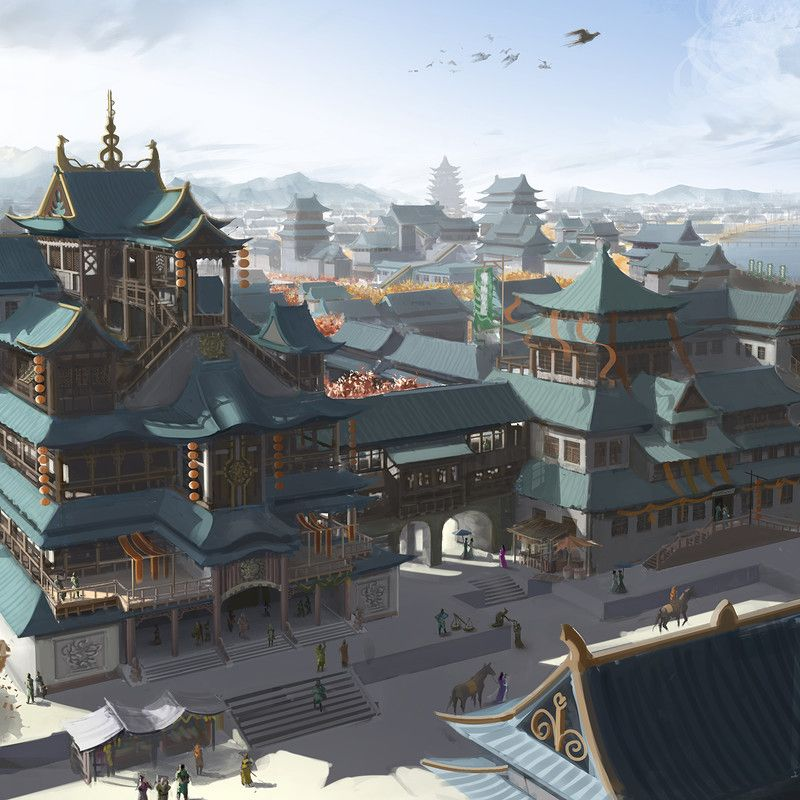 Ancient Chinese coastal city in autumn , Chinese ancient