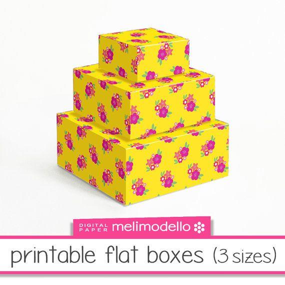 printable flat boxes Georgette 3 sizes download par melimodello