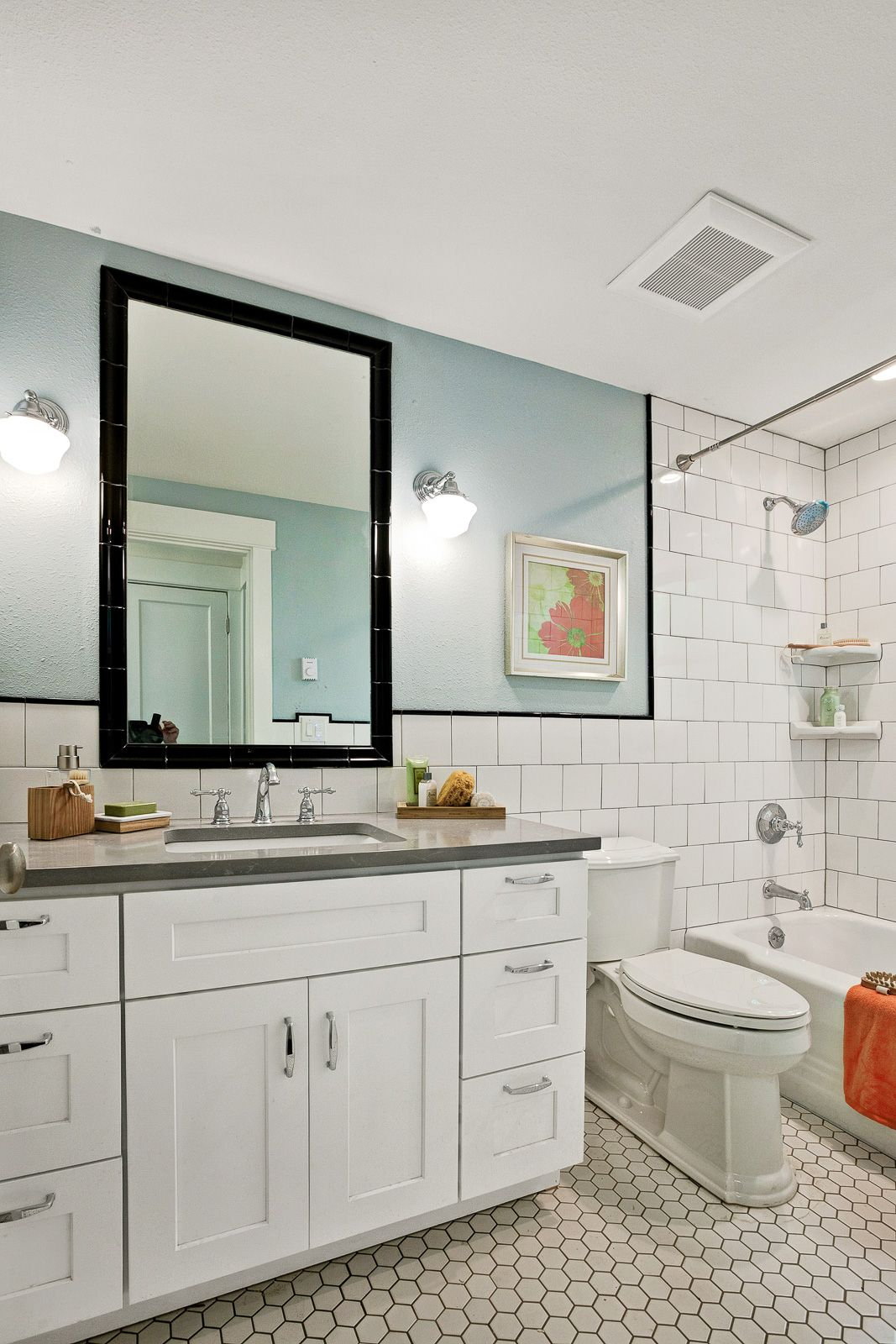 Good example of tile framed mirror and 6x6 white tiles brickset with ...