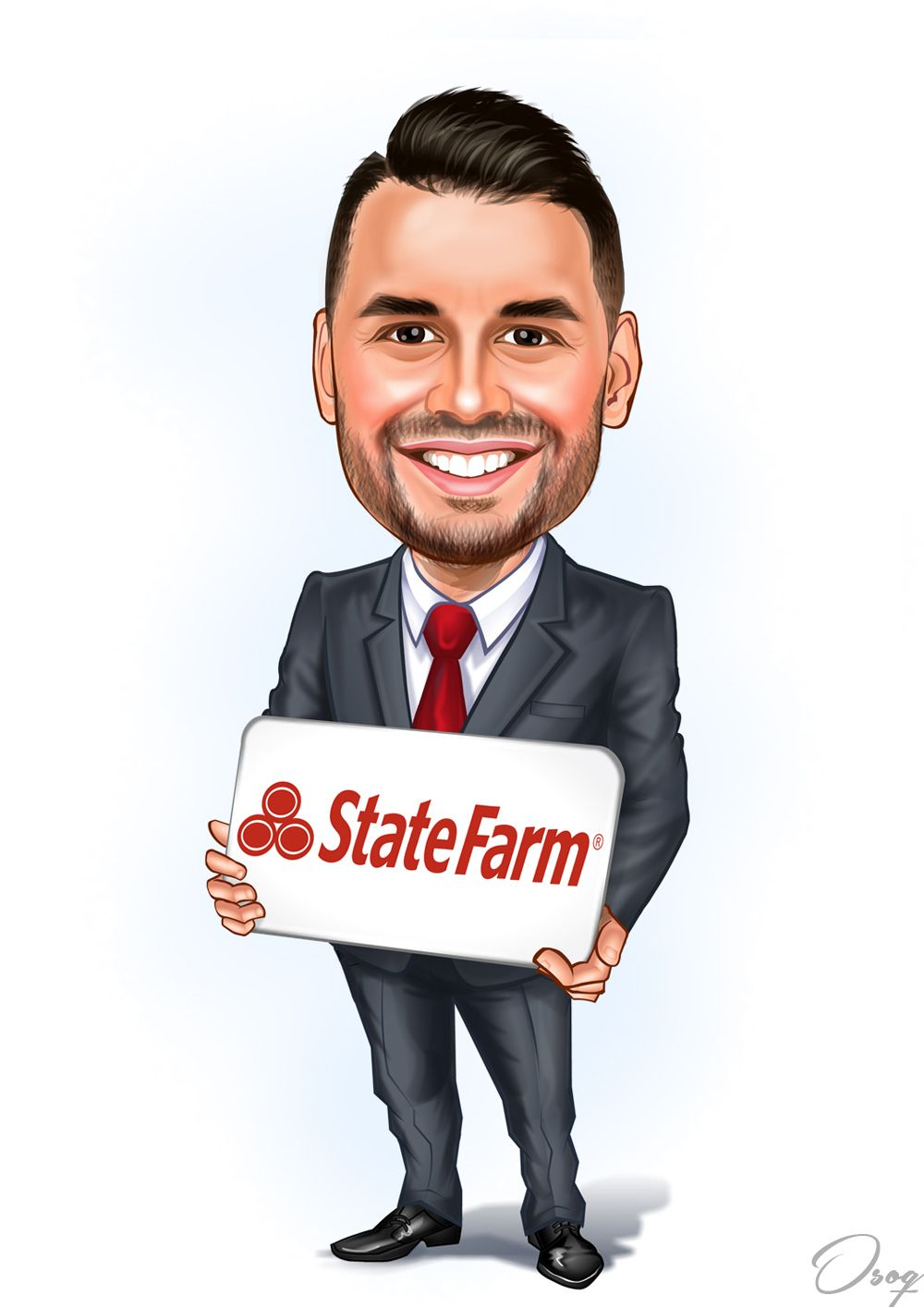 Male, smiling with teeth showing, grey suit and red tie. State Farm logo. I'm a State Farm Agent and I'm looking to differentiate myself to clients through Agent branding.