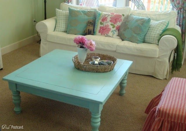 By this weekend, my coffee table will be a similar blue to this, with very slight distressing (it was already accidentally distressed from when I painted it in college)