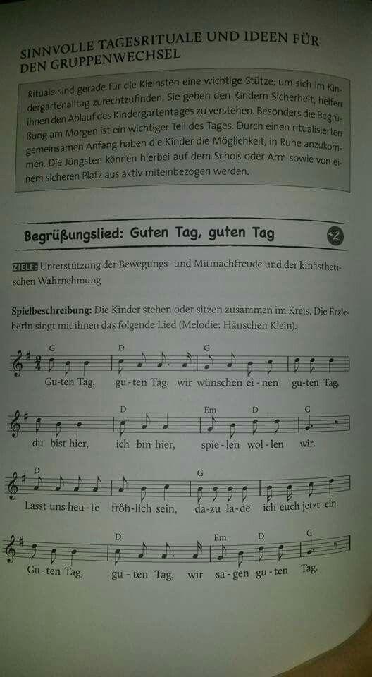 Guten Tag Begrüssung Lieder Maternelle Und Langage