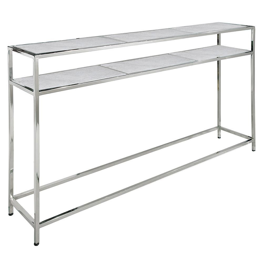 Winfrey modern hollywood regency white marble silver console table winfrey modern hollywood regency white marble silver console table geotapseo Image collections