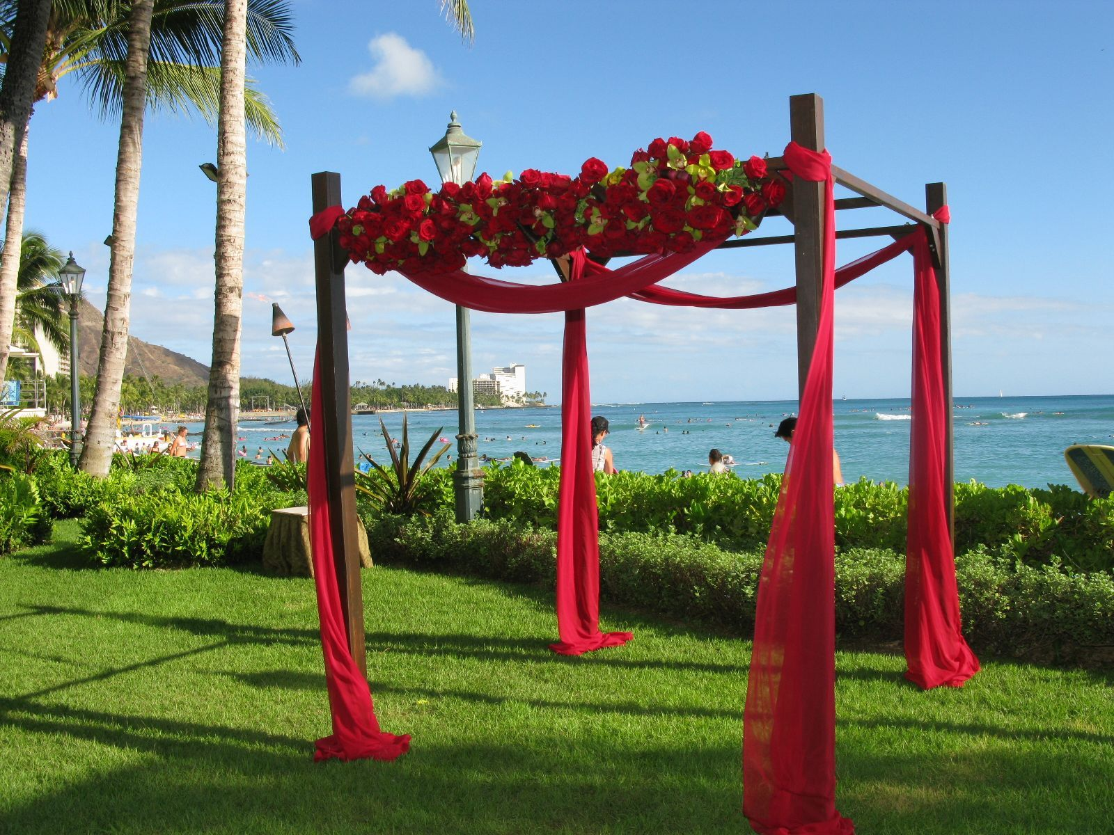 Red wedding arbor | Wedding Arch, Arbors, Background, and Entrance ...