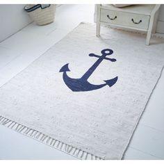 Maritimer Teppich teppich anker mit ankermotiv maritimer look baumwolle