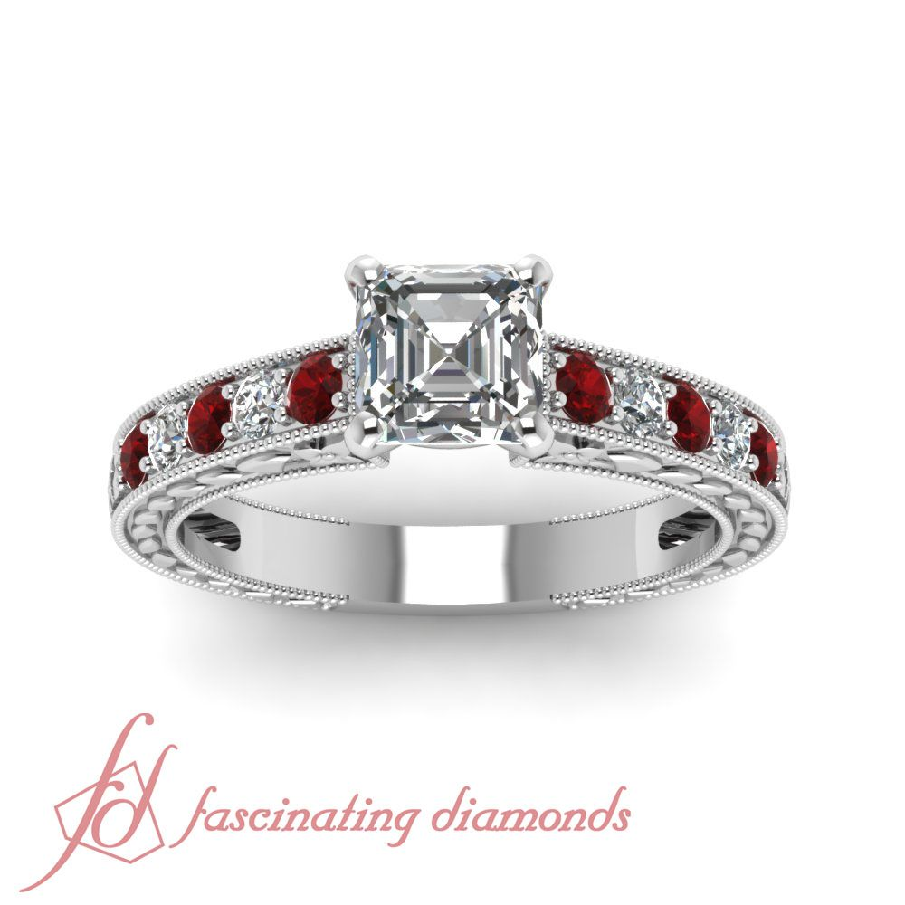 Carved Floret Ring    Asscher Cut Diamond Milgrain Rings With Red Ruby In 950 Platinum