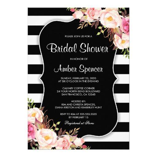 Floral Black White Stripe Bridal Shower Invitation