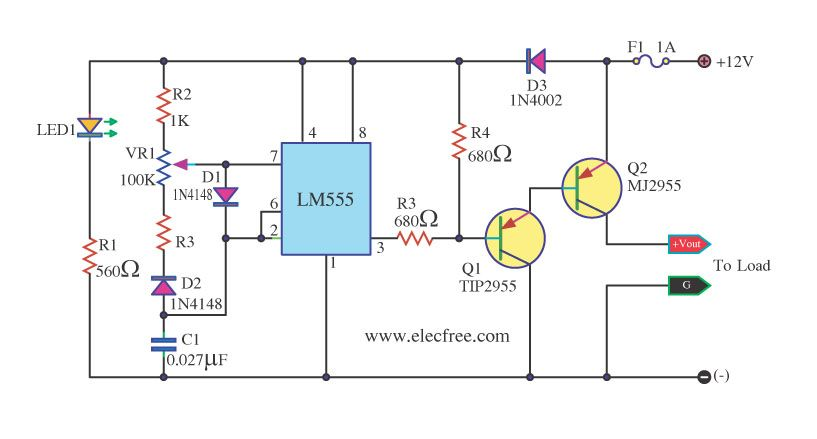 555 Pwm Led Dimmer Circuit Diagram Power Battery Saving Led Dimmer Circuit Diagram Circuit