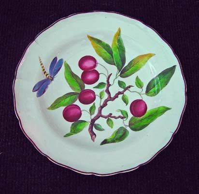 A Rare Porcelain Botanical Plate decorated in Ireland, marked Donovan, Dublin, Circa 1805.