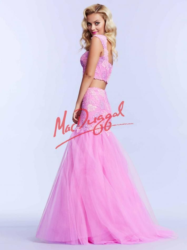 Pink Two Piece Prom Dress | Lace Gown | Mac Duggal 10053M | Mac ...