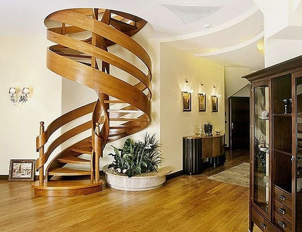 Unique model home stairs interior unique wooden curved for Interior staircase designs