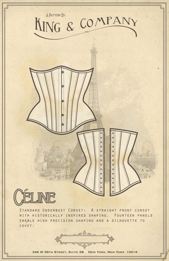 Corset Sewing Pattern - CÈLINE UNDERBUST - By King and Company ...