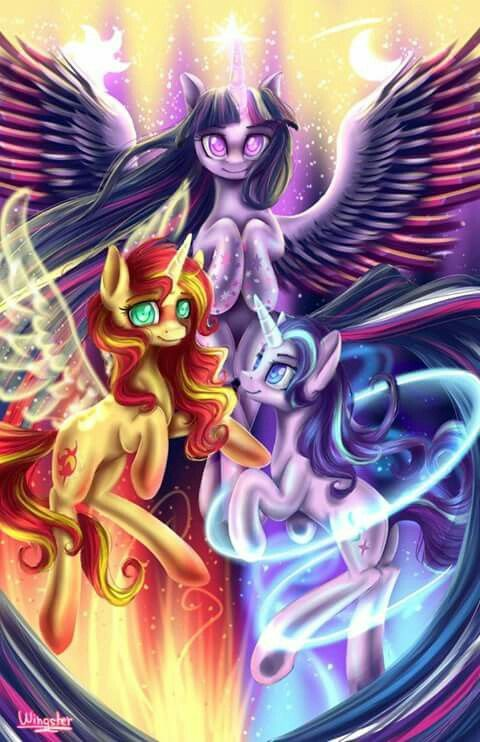 Twilight Sparkle Sunset Shimmer And Starlight Glimmer My Little Pony Twilight My Little Pony Characters My Little Pony Wallpaper