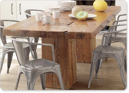 I Love The Rustic Wood Table With The Metal Chairs Don T