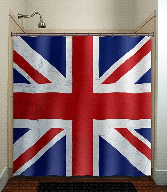 United Kingdom UK Union Jack England Flag Shower Curtain Extra Long Fabric Window Panel Kids Bathr