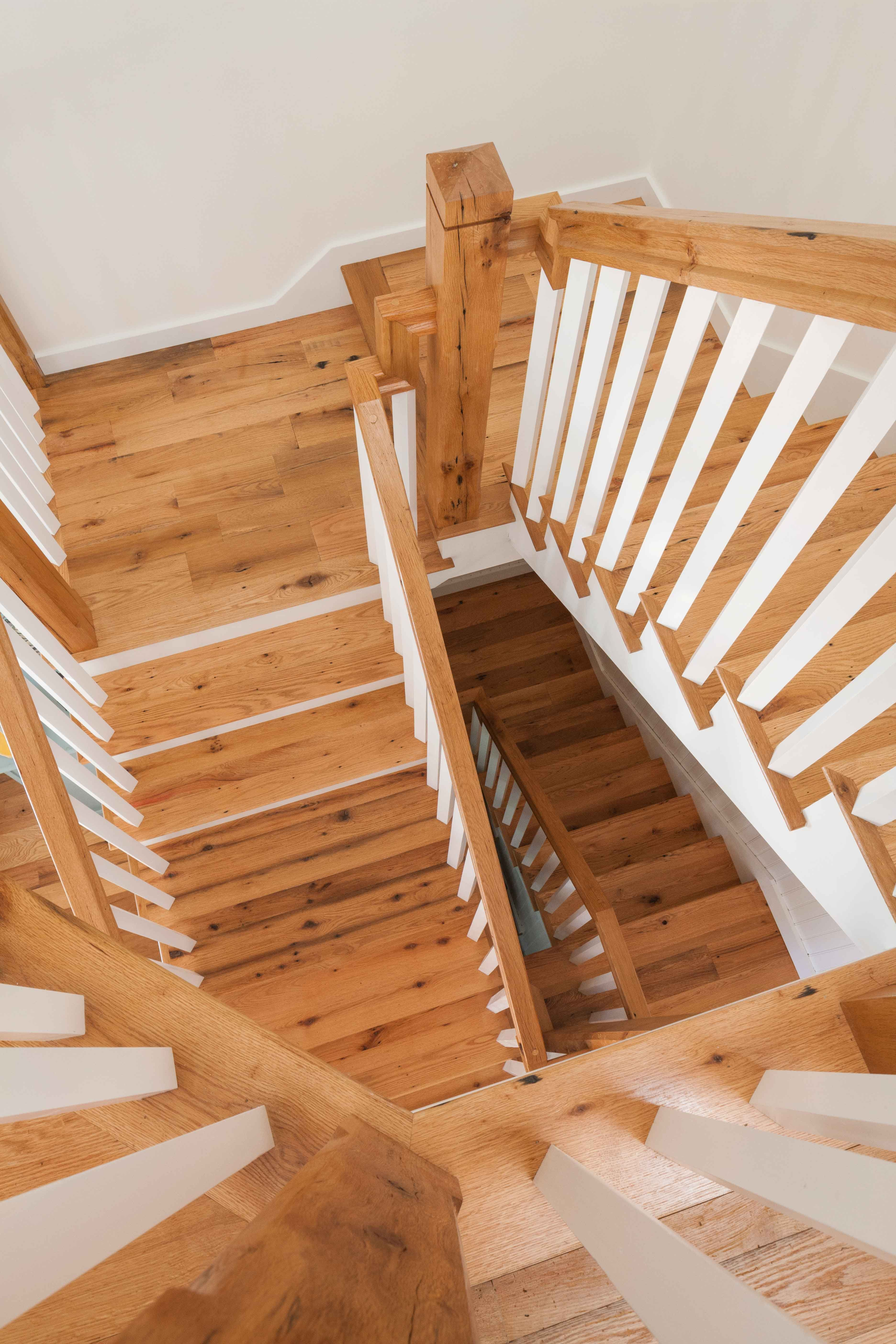 reclaimed red and white oak stair treads custom milled by longleaf lumber for an otisfield