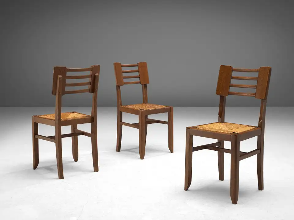 Set Of Four Dining Chairs By Pierre Cruege In Oak And Cane France 1940s Dining Chairs Cane Dining Chairs Fabric Dining Room Chairs Set of four dining chairs
