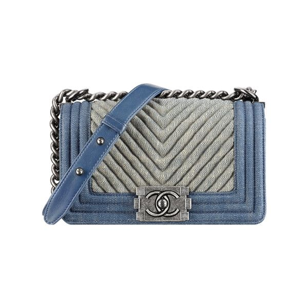 Small Boy CHANEL flap bag ❤ liked on Polyvore featuring bags, handbags, chanel, chanel bags, denim purse, summer handbags, denim hand bags and summer bags