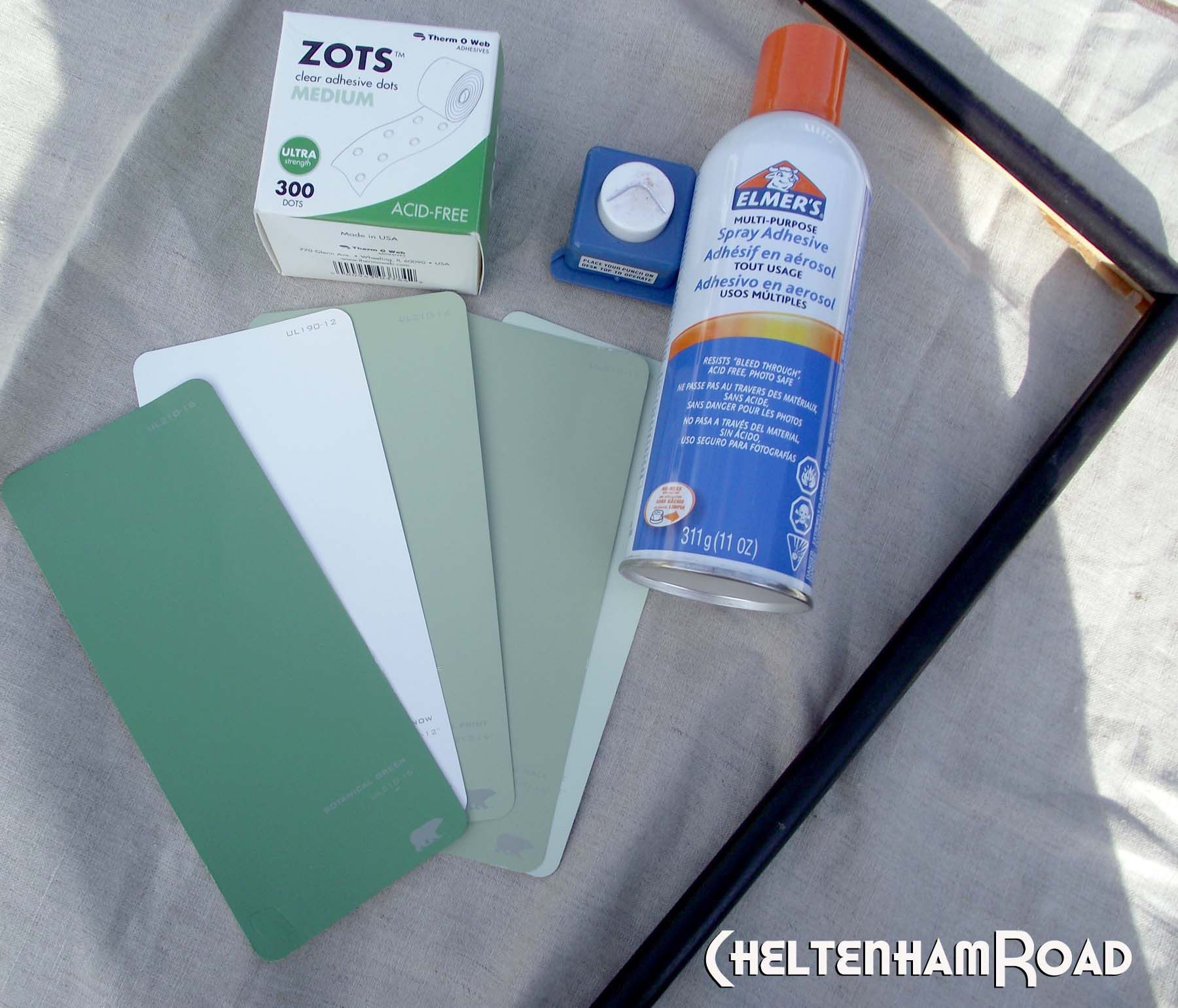 supplies for paint chip calendar project