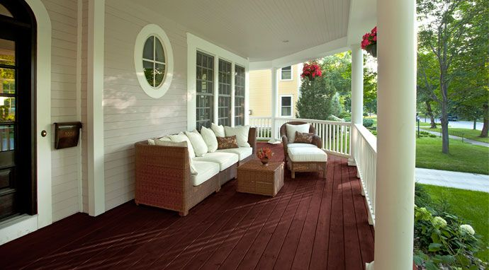 Exterior Paint Idea Light Gray White Trim Red Porch
