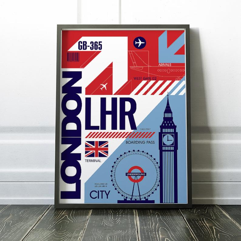 London Airport Poster Airport Code Poster London Poster Digital Download Wall Decor Printable Poster Housewarming Gift London Poster Posters Printable Deer Poster
