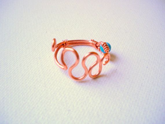 Simple Turquoise and Copper Wire Wrapped by GryffinDesigns