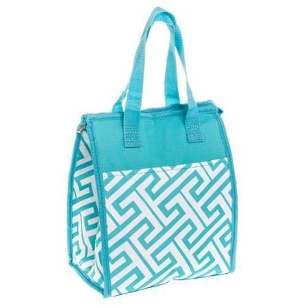 79ac3fcdfe Womens Turquoise   White Greek Key Nylon Insulated Work School Lunch Box Bag  NEW - Walmart.com