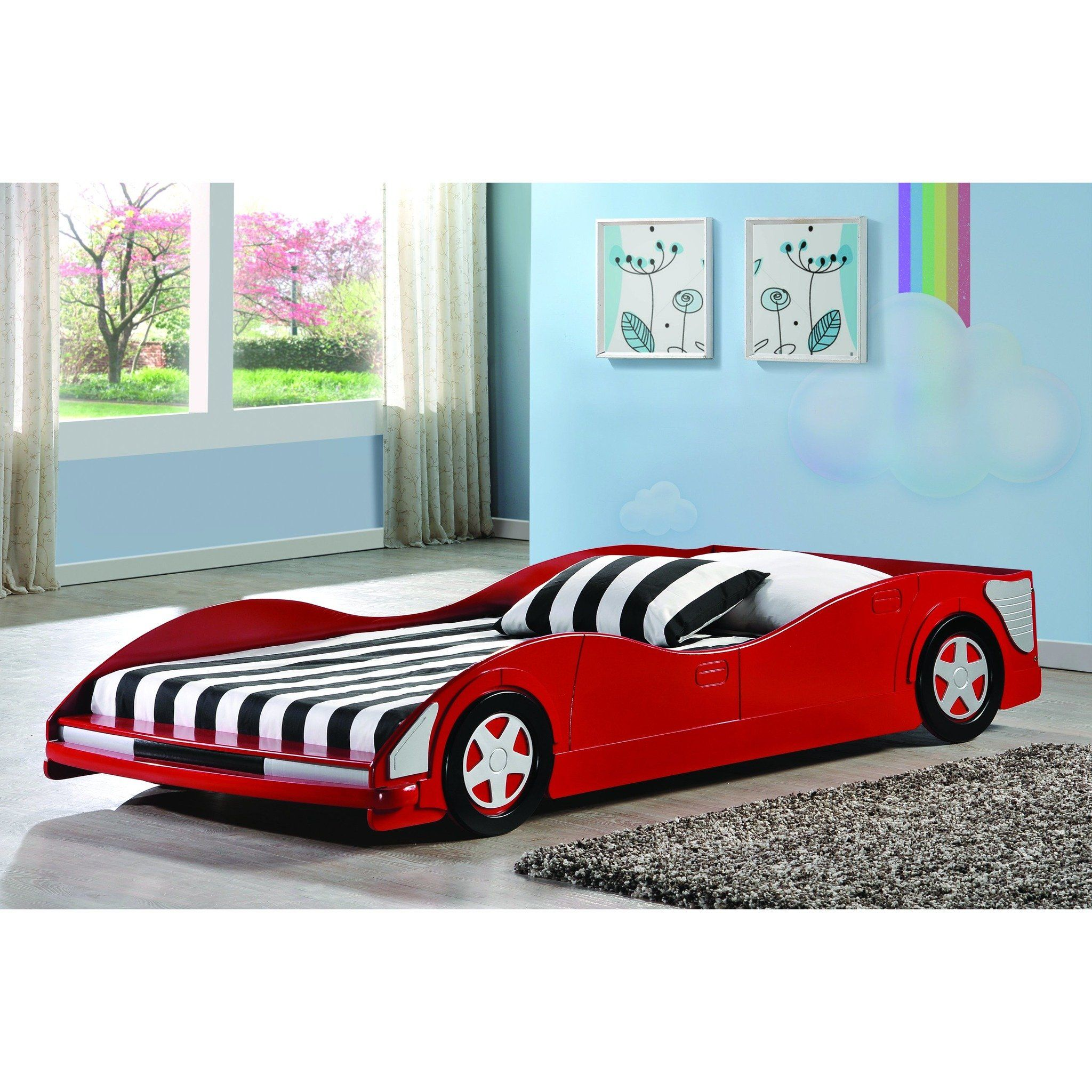 Donco Kids Red Youth Race Car Solid Wood Transport Bed Postele