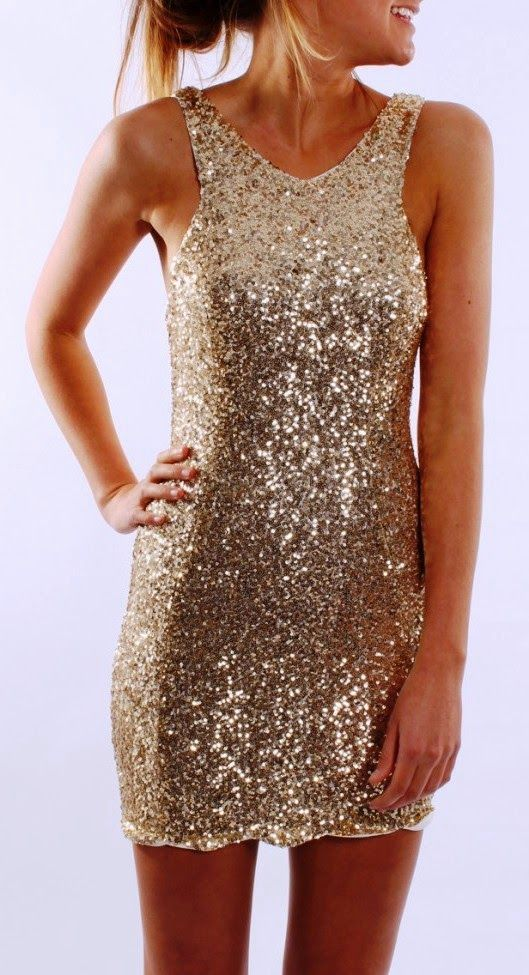 Sleeveless sparkly gold cocktail dress