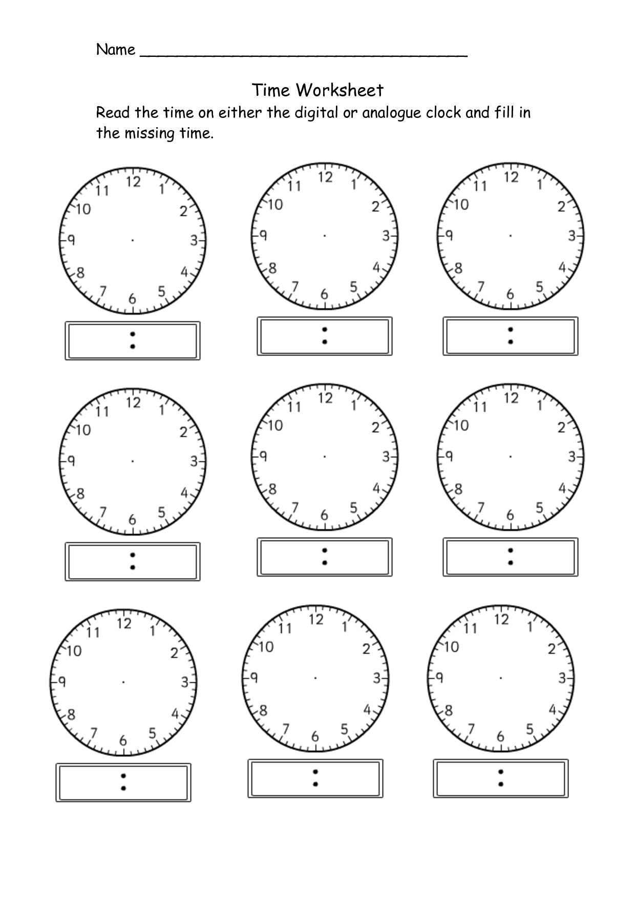 Blank Clock Worksheet Telling Time Kiddo Shelter Education