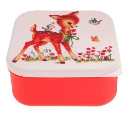 lunchtrommeltje met retro bambi print.