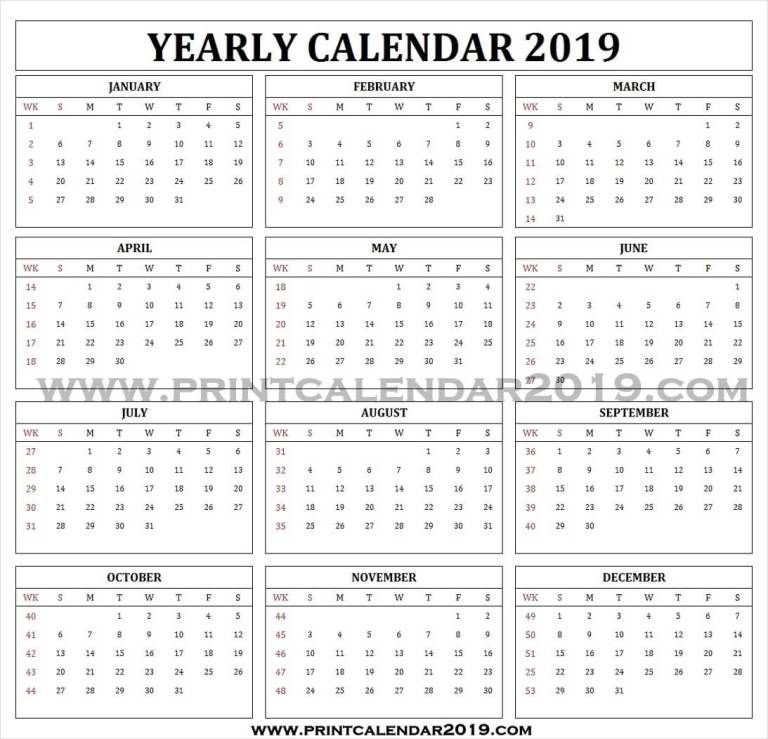 2019 Yearly Calendar With Week Numbers Yearly Calendar 2019