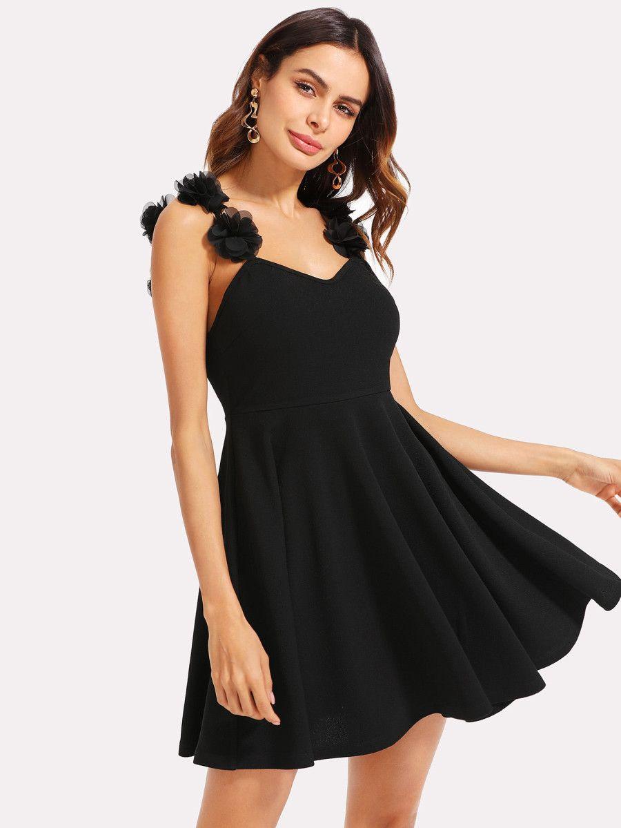 Flower Applique Strap Skater Dress Shein Sheinside Dresses Fit N Flare Dress Black Dress [ 1199 x 900 Pixel ]