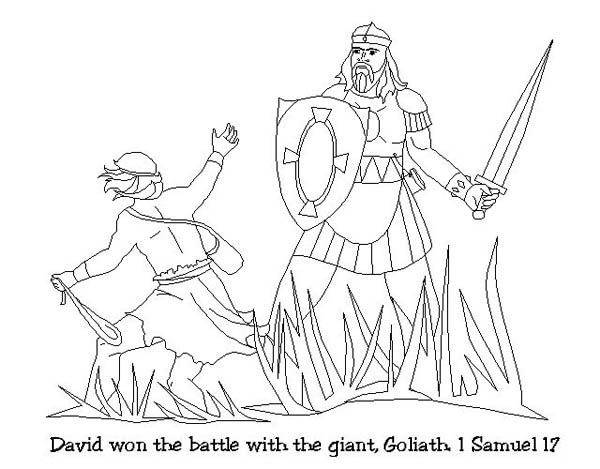 David Won The Battle With Goliath In The Story Of King Saul Coloring Page Netart Goliath Coloring Pages Saul