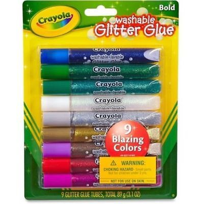 Crayola Washable Glitter Glue 9 Count Pack Multi Color Art School