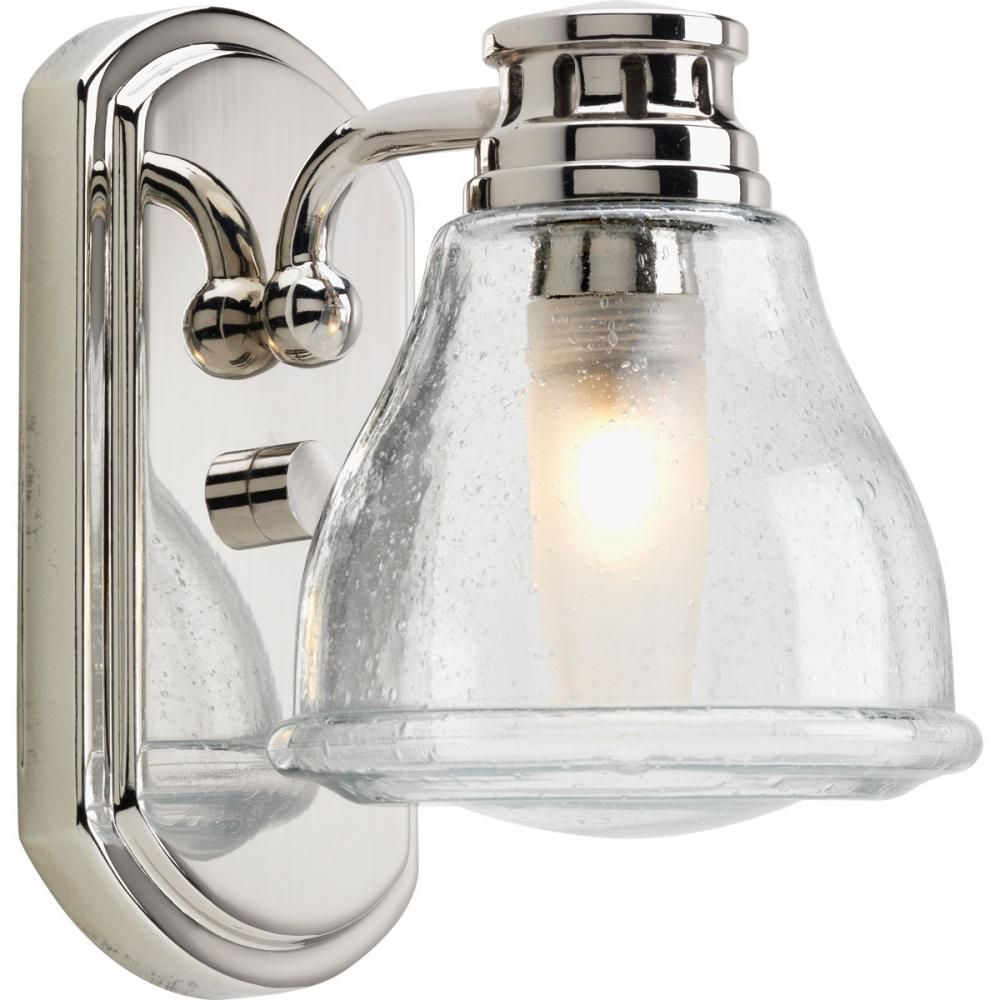 One light polished chrome clear seeded glass bathroom sconce 1n78p progress lighting academy collection polished chrome bath sconce with clear seeded glass the home depot audiocablefo