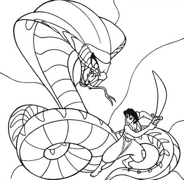 Aladdin Fights Jafar Who Turns Into A Giant Cobra Coloring Page Download Print Online Coloring Pa Coloring Pages Online Coloring Pages Snake Coloring Pages